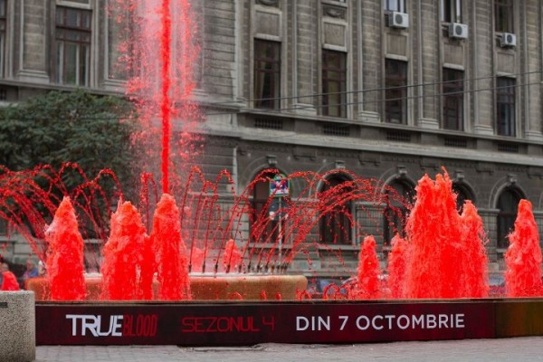 """""""Anyone up for a swim?"""" (Season 4 True Blood promotional fountain)"""