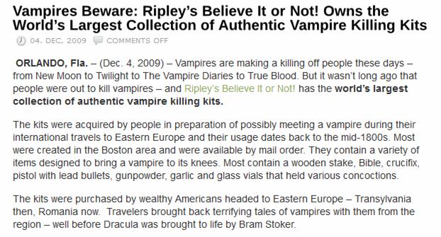 Vampires Beware, Press Release