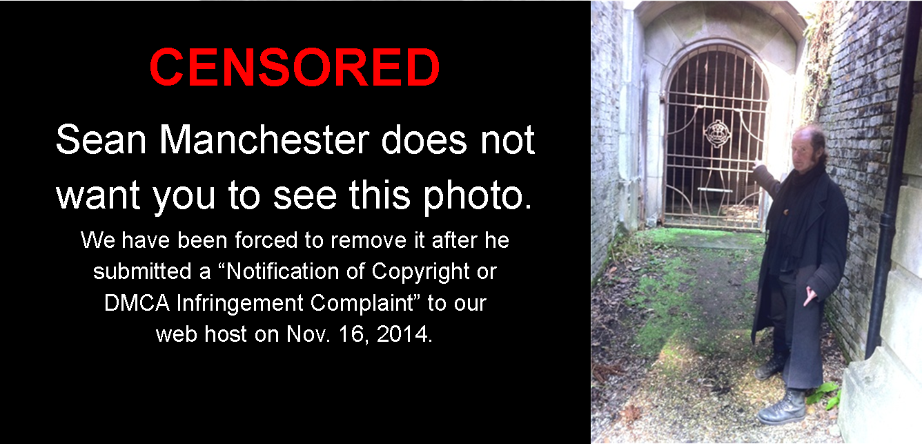 "Modified picture added to Erin Chapman's article, ""Seeking Vampires in London"" (Nov. 16, 2014), on Wednesday, Nov. 19, 2014. Left: ""Censored"" overlay obscuring Sean Manchester's photograph of Lusia pointing at ""the large iron door which could not be opened but beyond which lay three empty coffins"". Right: Gareth Medway stands in the passage way, pointing at the same ""large iron door"" during a visit to the cemetery on Sunday, March 27, 2011. (The Human Touch)"