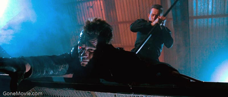 Arnold Schwarzenegger (The Terminator) loses the fight with the superiour T-1000.