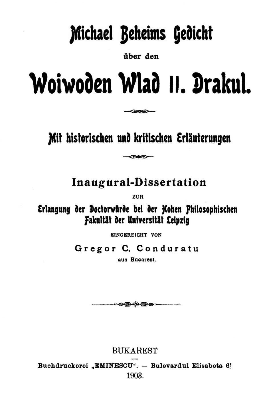 Title page of Conduratu's 1903 dissertation